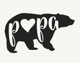 Papa Bear SVG file, Bear Family SVG file, Bear svg file, Commercial svg, SVG cutting file, Vinyl svg, silhouette cut file
