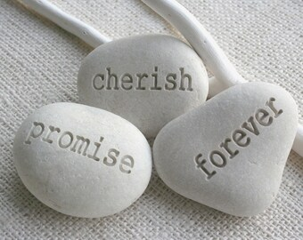 promise cherish forever - engraved pebble trio - engraved white beach pebbles for couple