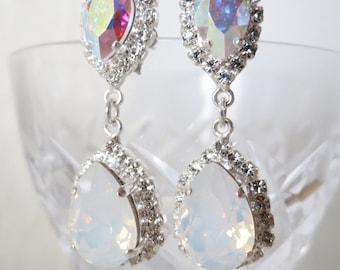 White Opal Bridal Earrings,White Wedding Jewelry,White Bridal Chandelier Earrings,Swarovski Crystal Rhinestone Teardrop Earrings