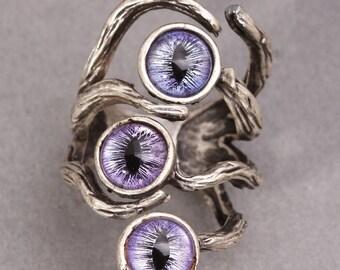 Dragon Eye Ring Evil Eye Ring Silver Branch Ring
