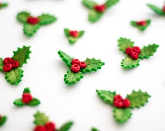 12 x Edible sugar holly and glittering berries fondant cupcake toppers Christmas