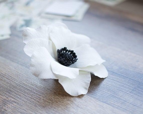 Weiße Anemone Blume Haar-Clip Anemone Hochzeit Zubehör
