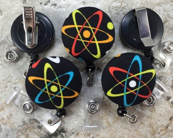 Retractable Badge Holder - Fabric Covered Button - Atomic Structure Genius