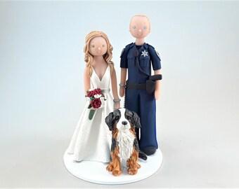 Bride & Police Officer Groom with a Dog Custom Made Wedding Cake Topper