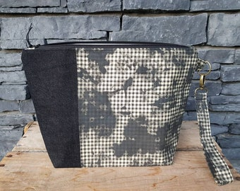 Project Bag | Knitting Bag | Project Bag | Zippered Project Bag | Wedge Bag | Shawl Knitting Bag | Bag Bling Gingham | Black & White