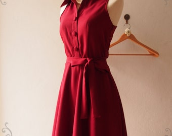 Dark Red Shirt Dress Red Summer Sundress Red Bridesmaid Dress Midi Dress Vintage Inspired Dress Blood Red Dress - DOWNTOWN - xs-xl, Custom