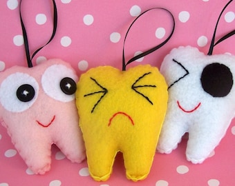 Tooth Christmas Ornaments -- Set Of Three