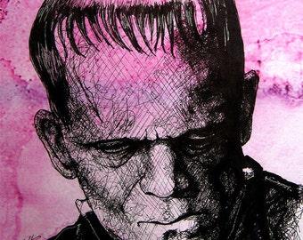 "Print 8x10"" - Frankenstein - Portrait Dracula Classic Monster Horror Halloween Pop Gothic Coffee Vintage Dark Art Lowbrow"