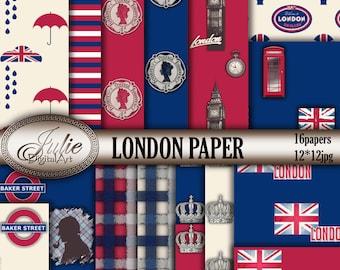 Red Blue Digital Paper - London Digital Paper - England Digital Paper - UK British Flag background - London Phone Booth - Big ben Patterns