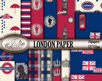 Red Blue Digital Paper - London Digital Papers - England Digital Paper - UK British Flag background - London Phone Booth - Big ben Patterns