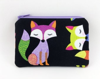 Fox Coin Pouch - Purple Fox Fabric Purse - Fox Lover Gift - Coin Purse Wallet - Mini Zip Pouch - Gift for her - Padded Change Purse