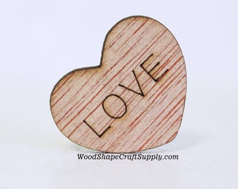 100 LOVE Wood Hearts - 1 Inch Table Confetti - Wedding Decorations - Wooden Heart Shapes With Words