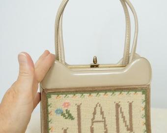Handbag Vintage Purse Personalized Jan Handbag Small Needlepoint Dainty Bag Little Small Handbag