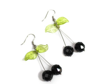 Black Cherry Beaded Earrings