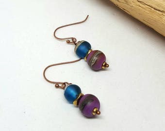 Blue and Purple Copper Earrings - Blue Earrings - Purple Earrings - Copper Earrings - Gift Ideas - Gifts for Her