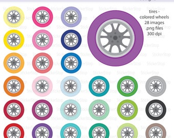Tires with Colored Wheels Digital Clipart - Instant download PNG files