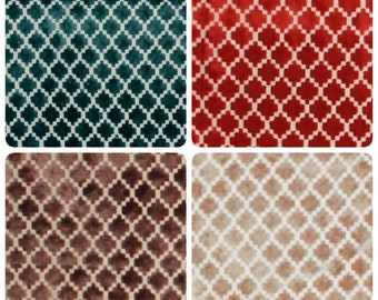 Petite Diamond Plush Velvet Upholstery Fabric Caramel Brown Beige Teal Red Cream Small Scale Modern Geometric Trellis Pattern IL7