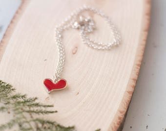 Red Heart Necklace, Silver Heart necklace, Heart Pendant Necklace, Cute Necklace, Valentines jewelry, Valentine Gift for her, Heart Charm