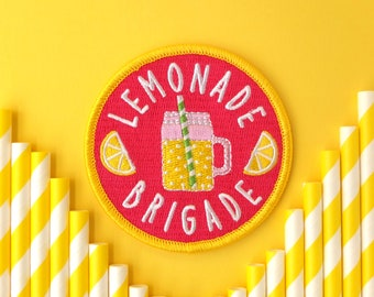 Lemonade Patch, Iron on Patch, Lemonade Brigade Patch, Team Patch, Summer, Refreshing, Mason Jar, Paper Straw, Pink, Yellow, Drink, Beverage