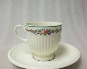 WEDGWOOD EDME Coffee Cup & Saucer U.S.A. Pattending Pattern Demitasse Espresso Circa 1950's!