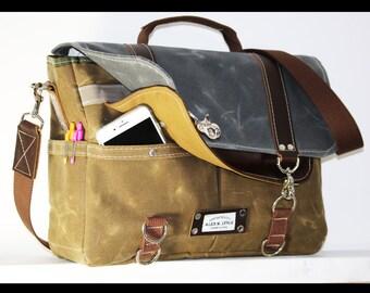 Waxed Canvas Messenger bag - cross body bag handmade by Alex M Lynch - 010022