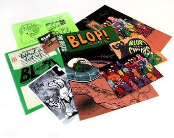 The BLOPPIN' BIG BUNDLE: a huge collection of books, prints, art and merch featuring Blop (Inc. the Blop enamel pin!) by Alex Hahn