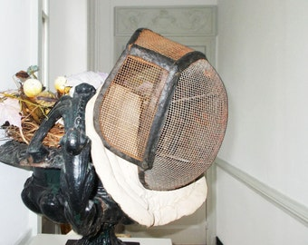 French Fencing Mask Antique Metal and Leather 1800s
