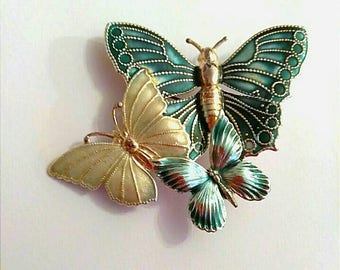 Vintage Cloissone Yellow Gold Green Butterfly Brooch, Enamel Brooch, Accessories, Boutique