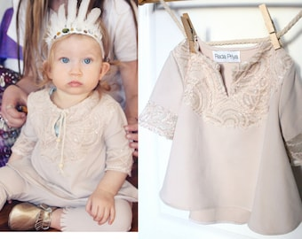 Baby Girl Tunic Dress Neutral Nude with Lace Embellished Yolk and Sleeve