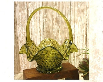 Vintage Green Glass Ruffle Edge Basket with handle, Diamond Cut Glass, 1960