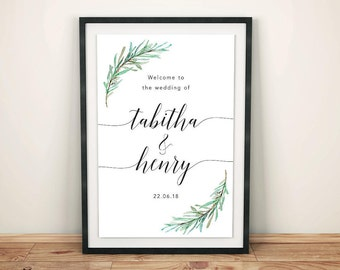 Rustic Wedding Welcome Sign / Olive Branch Wedding Sign / Printable Wedding Welcome Sign / Rustic Wedding Decor / Reception Welcome Sign