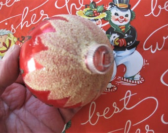 West Germany Glittered Pink Ornament