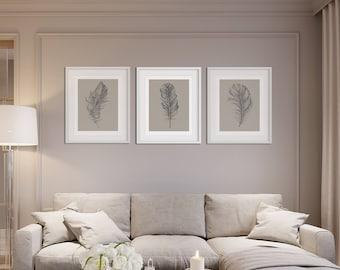 Feather Print Set, Botanical Prints, Set Of Prints, Wall Art Set, Feather Wall  Art, Wall Art Prints, Feather Prints, Grey Prints, Prints