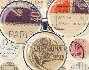 Vintage Postcard Digital Collage Sheet 1 inch Circles Bottle Cap Images Jewelry Printables French Text Handwriting Europe Stamps piddix 995