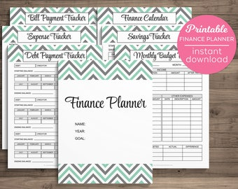 Finance Planner Printable Budget Money Savings Expense Financial Journal Tracker Planning Monthly Debt Bill Payment Budget Binder Letter PDF