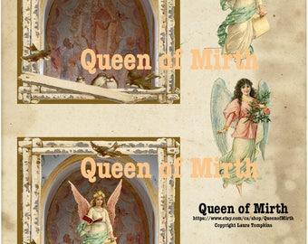 BUILD A SHRINE angel collage art retablo nicho kit instant download spiritual altered art sheet art journal scrapbooking Catholic