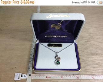 """10%OFF3DAYSALE Vintage 18"""" Landstrom's 925 Sterling Silver 2.4g 12K Gold Overlay Green Stone May Necklace In Box Used"""