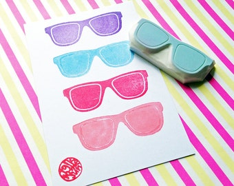 sunglass rubber stamp   eyewear stamp   summer crafts   birthday card making   paper stamping   gift for kids   hand carved by talktothesun