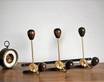 Wood and gold metal coat rack - French vintage coat rack - 50/60 year decoration