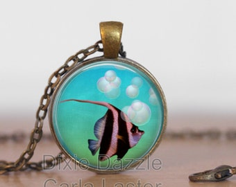 Mothers Day angel fish art pendant necklace, springtime jewelry, resort wear, beach, fish pendant, blue necklace, bronze, copper, silver