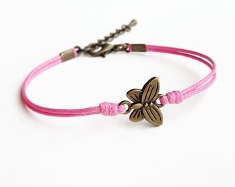 Butterfly Bracelet, Pink Cord Bracelet, Friendship Bracelet, Insect Bracelet, Animal Bracelet, 28 Colors Available