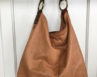 Large tan leather handbag - Lucky Brand
