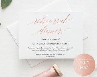Rehearsal Dinner Invitation Template Rose Gold, Rehearsal Dinner Invitations Printable Wedding, Editable Rehearsal Dinner Invites PDF - A1RG