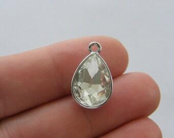 4 April birthstone charms 19 x 12mm silver tone