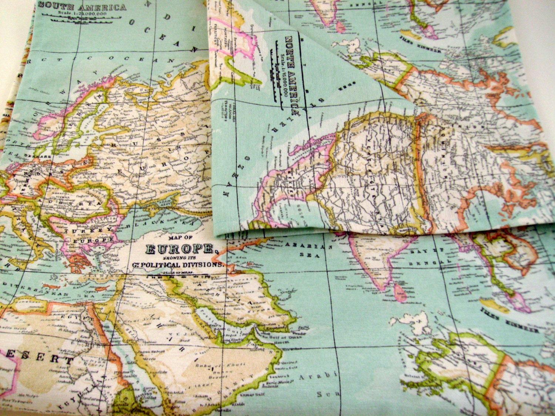 Map fabric runner 5ft table runner world map table runner zoom gumiabroncs Choice Image