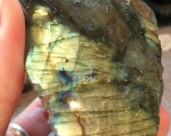 Luminescent Labradorite healing crystal geode slab stone E170709