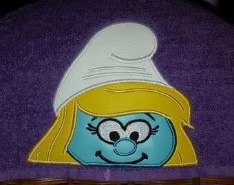 Smurf Smurfette Peeker 4x4 and 5x7