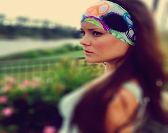 Peace On White ~ #139 Peace Headband, Hippie Headband, Hippie Runner, Running Headband, Yoga Headband, Fitness Headband, Exercise Gear