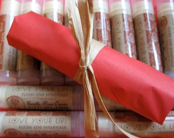 GIFT SET 6 vanilla rose cacao lip bliss tubes for your favorite lips