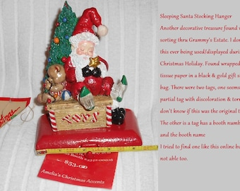 Santa Stocking Hanger/Holder  Lovely Christmas Decorative Accent~Great Clean Condition